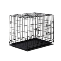 Foldable Steel Dog Cage with 3 Doors in Black 24in