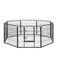 8 Panel Foldable Pet Playpen Enclosure Black 80cm