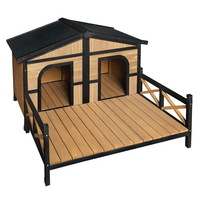 Fir Wood Double Dog Kennel House w/ Patio in Black
