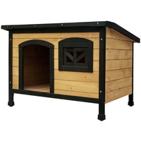 Large Size Fir Wood Dog Kennel House in Black