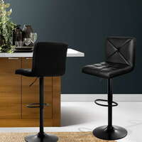 2x Gas Lift PU Leather Padded Bar Stools in Black