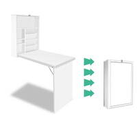 Foldable Wall Computer Desk with Bookcase in White