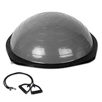 Exercise Bosu Ball with 2 Resistance Bands in Grey