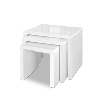3pc Contemporary Nesting Tables in High Gloss White