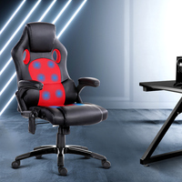 PU Leather Massage Office Chair in Black and Red