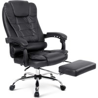 PU Leather Executive Office Chair w/ Footrest Black