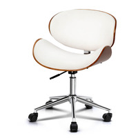 Curved Wood and PU Leather Office Chair in White