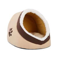 Small Cotton Cushioned Fleece Igloo Pet Bed - Beige