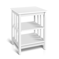 3 Tier MDF & Pine Wood Side Table in White 60cm