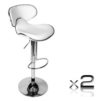 2x Contour Gas Lift PU Leather Bar Stool in White