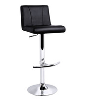2x Curve Stitch PU Leather Bar Stools in Black