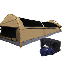Double Camping Canvas Swag Tent w/ Air Pillow Beige