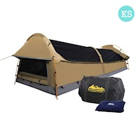 King Single Swag Camping Tent with Air Pillow Beige