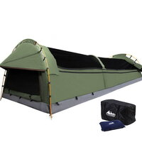 King Single Canvas Camping Swag Tent w/ Air Pillow
