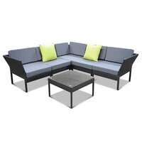 6pc PE Wicker Miami Outdoor Modular Lounge in Black