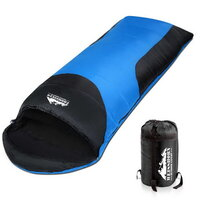 Single Camping Envelope Sleeping Bag Blue Black
