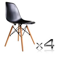 4 Replica Eames Wood & Plastic Dining Chairs Black
