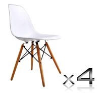 4x White Replica Eames Eiffel DSW Dining Chairs