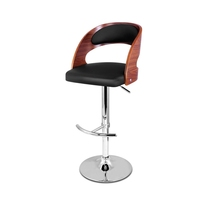 Wood Rail PU Leather Gas Lift Bar Stool in Black