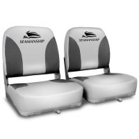 2x Swivel Folding Marine Boat Seats Grey Black