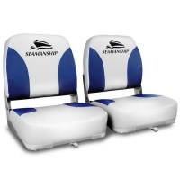 2x Swivel Folding Marine Boat Seats White Blue