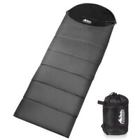 Single Camping Envelope Sleeping Bag - Grey Black