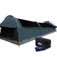 King Single Camping Swag Tent Navy with Air Pillow