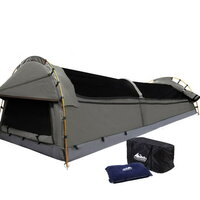 KingSingle Camping Swag Tent Grey with Air Pillow