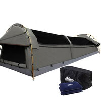 Double Camping Canvas Swag Tent w/ Air Pillow Grey