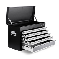 Lockable 9 Drawer Metal Tool Box in Black & Grey