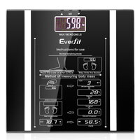 Electronic Body Fat & Hydration Glass Scale Black