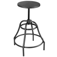 Retro Industrial Swivel Metal Bar Stool in Black