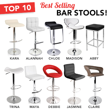 set of 2 best selling bar stools in 10 designs