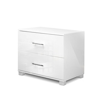 High Gloss MDF Bedside Table Unit w/ Drawers White