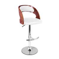 Wood Rail PU Leather Gas Lift Bar Stool in White