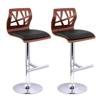 2x Cut Out Wood Chrome PU Leather Bar Stools Black