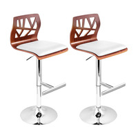 2x Cut Out Wood Chrome PU Leather Bar Stool White