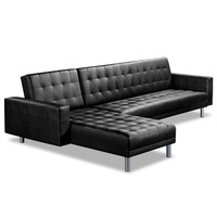 Artiss PU Leather 4 Seater Sofa Bed - Black