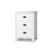 4beb3efb6202 Artiss Vintage Bedside Table Chest of 3 Drawers Storage Cabinet Nightstand  White