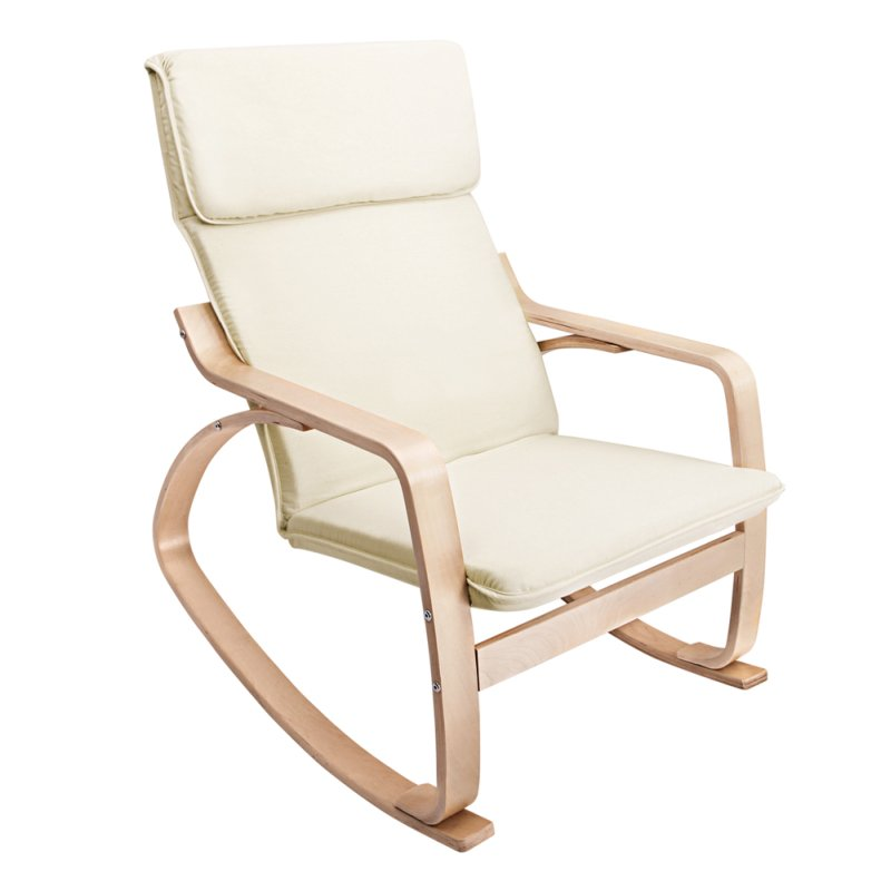 ergonomic bentwood fabric rocking chair in beige buy. Black Bedroom Furniture Sets. Home Design Ideas