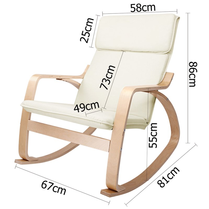 Ergonomic Bentwood Amp Fabric Rocking Chair In Beige Buy