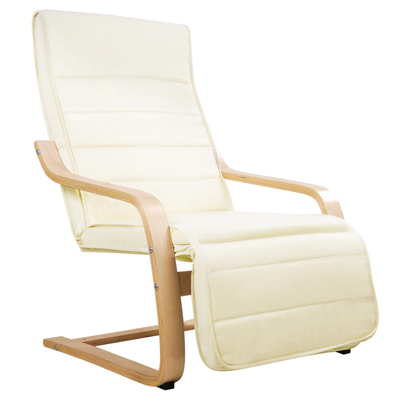 Birch Bentwood Amp Fabric Arm Chair W Footrest Beige Buy