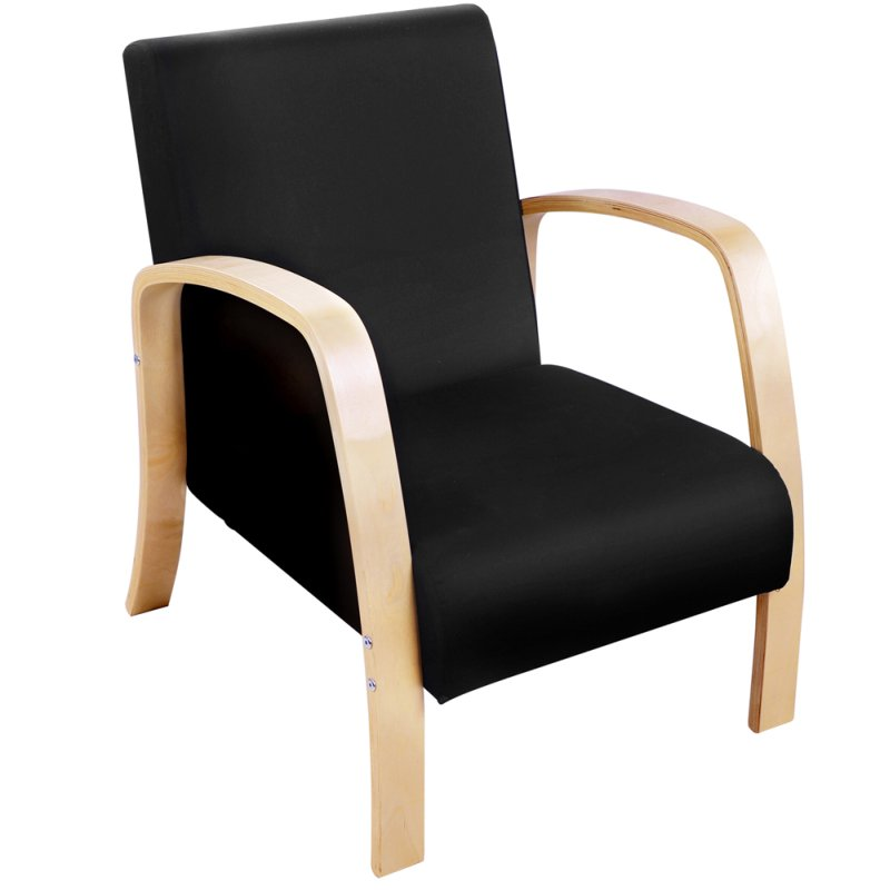 Birch plywood fabric lounge armchair in black buy for Furniture armchairs