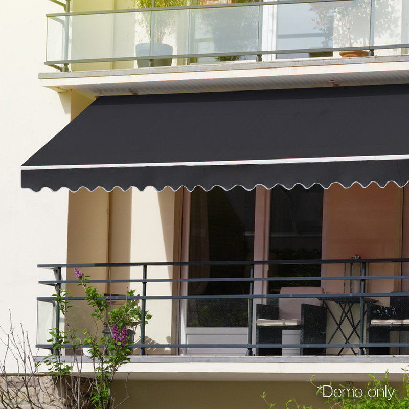 Instahut Retractable Outdoor Arm Awning 4 X 3m Grey