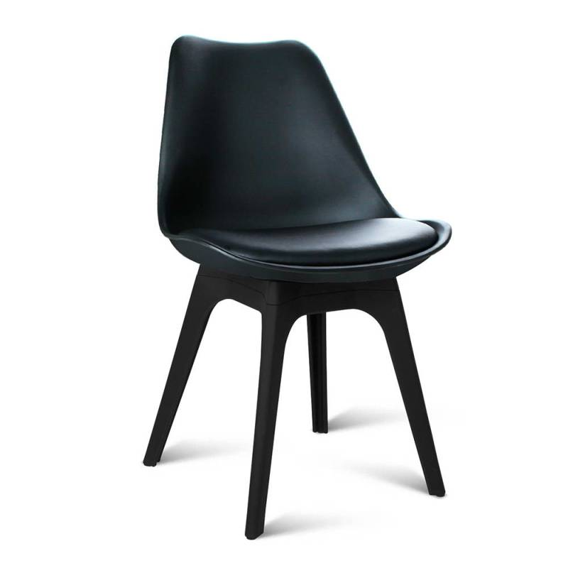 4x eames inspired dsw pu leather chairs in black buy for Leather eames dining chair