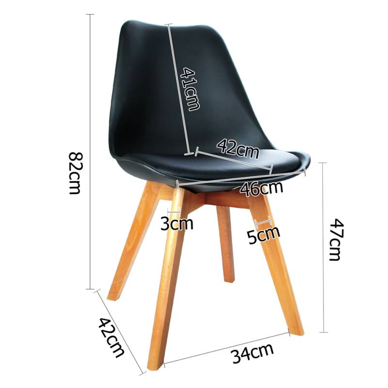 4x replica eames pu leather dining chairs in black buy for Leather eames dining chair