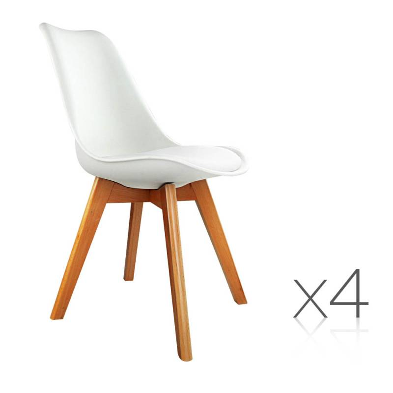 4x Replica Eames PU Leather Dining Chairs in White Buy  : BA BB DSW PU WHX4 00 from www.mydeal.com.au size 800 x 800 jpeg 54kB