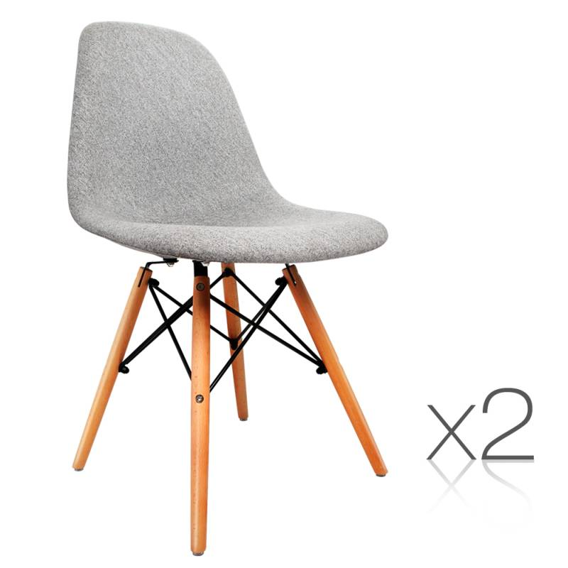 2x Replica Dsw Eames Padded Dining Chairs Grey Buy Sets