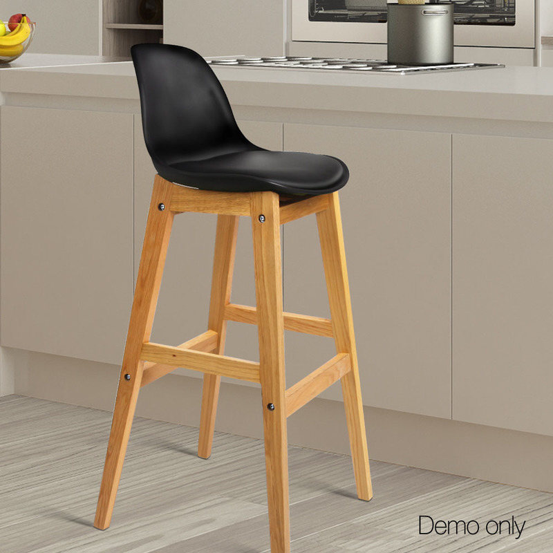 Kitchen Stools Malta: Artiss Set Of 2 Oak Wood Bar Stools - Black