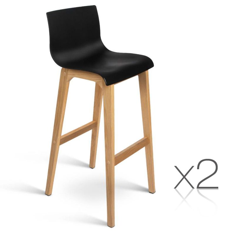 2x Plastic Bar Stools with Oak Wood Legs in Black  sc 1 st  MyDeal & 2x Plastic Bar Stools with Oak Wood Legs in Black | Buy Sets of 2 islam-shia.org